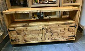 Handmade Bespoke Rustic reclaimed wood Tv Stand cupboard sideboard