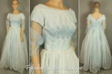 Vtg 50s Lace Chiffon Tulle Layered Maxi Formal Gown Party Prom Cupcake DRESS