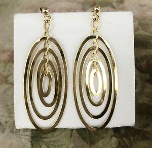 Vintage 9ct Yellow Gold Multi Oval Hoop Drop Earrings - B0901