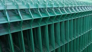 1.5m high 2.5m long V mesh fence panel, profiled green security fencing