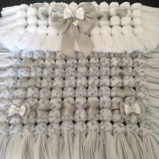 Luxurious Thick Baby Pom Pom Blanket / Pram Cover In Grey & White Mix