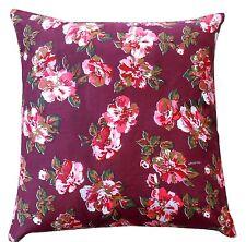 Granate con rosa Flores 100% Sarga Funda De Cojín De Algodón Almohada