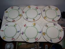 SET OF 6 ROYAL DOULTON BONE CHINA SPRING FLOWERS 6 1/4'' BREAD AND BUTTER PLATES