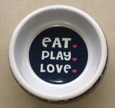 Melamine Hard Plastic Pet Dog Bowl Dish - Eat Play Love- 7 Inch 2 Cup