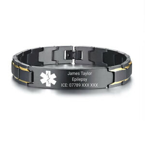 Customised Personalised Engraving Medical Alert Bracelet Stainless Steel ID Name