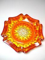 Large Vintage Orange Yellow Glass Ashtray with Star Shape
