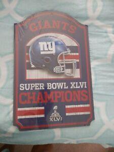New York Giants Super Bowl XLVI NFL Champions Licensed Wooden Sign wooden plaque