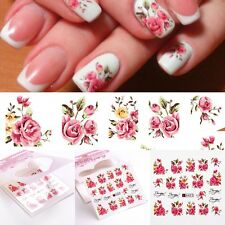 Nail Art Water Decals Stickers Decoration Pink Flowers Roses Gel Polish Women