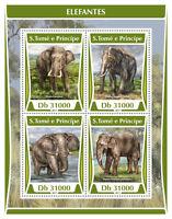 Sao Tome & Principe 2017 MNH Elephants 4v M/S Wild Animals Mammals Stamps