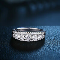 Round White AAA Cz 925 Sterling Silver Wedding Band Engagement Ring Size 5-12