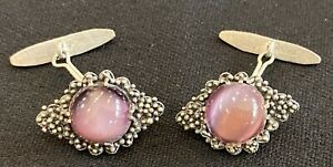 Vintage Filigree & Amethyst 90% Silver Cuff Links - Excellent Condition!
