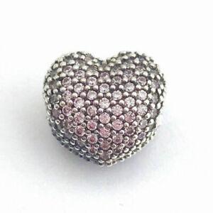 Pandora Charm Bead 791427PCZ Pavé Open My Heart Clip Pink CZ S925 ALE
