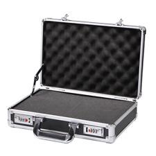 Black Briefcase Aluminum Hard Case with DIY Foam Password Lock Equipment Toolbox