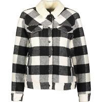LEVIS Women's Black & White Check Wool Lumberjack Jacket, Small