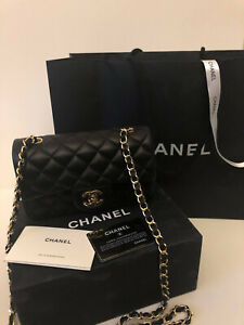CHANEL Quilted Lambskin Classic Single Flap Mini Chain Shoulder Bag Black