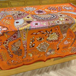 70% Cashmere 30% Silk Thin Scarf Flower Horse Shawl Stole Big Kerchief 135*135cm