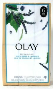 1 Package Olay 23.9 Oz Fresh Outlast Birch Water & Lavender 6 Count Soap Bars