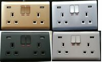 Double Gang Electrical Plug Socket With 2 USB Outlets Electric Wall Faceplate