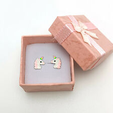 Cute Girls Sterling Silver Birthday Unicorn Stud Earrings with gift box for her