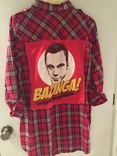 The Big Bang Theory Sheldon Bazinga Plaid Flannel Button Down Shirt L Large Red
