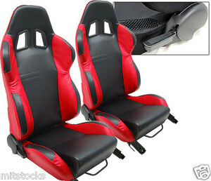 NEW 2 BLACK & RED PVC LEATHER RACING SEATS RECLINABLE W/ SLIDER ALL CHEVROLET *