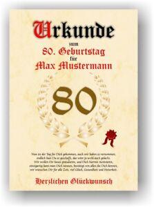 Urkunde zum 80. Geburtstag Geschenk mit Name personalisiert Deko Karte Mann Frau