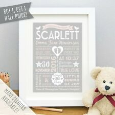 Personalised Retro Style Baby Print Birth Stats Details Picture Christening Gift