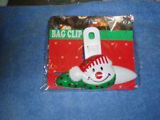 Chip Clips 2 Pc, Christmas,. Snowman & Teddy Bear, Food Storage Bag Clips,  New