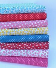 MIXED FLORAL POLY COTTON FABRIC BUNDLE 8 X FAT QUARTERS OR SQUARES RED PINK BLUE