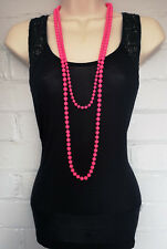 """Set of 2 Bright neon pink long rope - plastic beaded necklace's - 30 & 40"""" long"""
