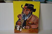 Original OOAK Pop Art Acrylic Southwest Bearded Man Cowboy Smoking Vibrant