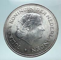 1970 Netherlands Kingdom Queen JULIANA Authentic Silver 10 Gulden Coin i80967