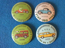 Russian Badges - Lot of 4 - Motor Cars - Large Button Style