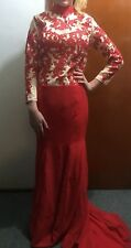 SEXY RED & NUDE LACE FORMAL GOWN DRESS FREE POSTAGE  (F27) WOMENS