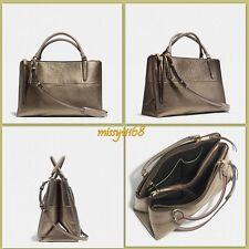 $598 NWT Coach Borough Medium Satchel Bag in Metallic Gold Leather 32323