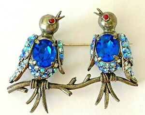 Vintage Signed Weiss Song Birds on a Branch Rhinestone Belly Brooch Pin