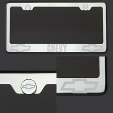 T304 Chrome Polished Chevy Chevrolet Laser Etched License Plate Frame Screw Cap