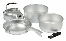 Yellowstone Aluminium 5 Piece Cook Set With Kettle Camping Pans Pot Cooking