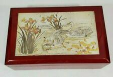 Vintage WESTLAND JAPAN Trinket Music Box Red Lacquer SWAN LAKE Hinged 9.5x6x3.5