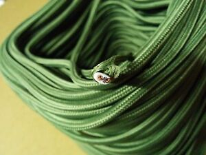 Vintage 2-Wire Flat Parallel Cloth Covered Wire Antique Lamp Cord Grass Green