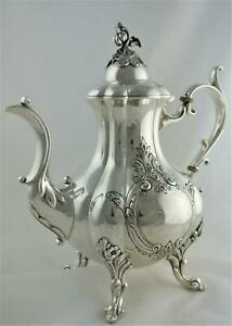 LOVELY VINTAGE REED BARTON WINTHROP SHIELD CHASED PUMPKIN TEAPOT COFFEE POT