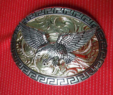 CHROME SILVER GOLD 3D SWOOPING EAGLE BIRD OF PREY FALCON HAWK BELT BUCKLE