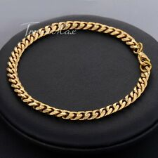 """Stainless Steel Anklet Bracelet for Womens 5mm 10"""" Gold Plated Curb Link Chain"""