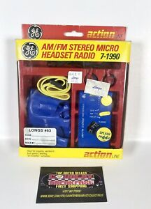 GE 7-1990 AM/FM Stereo Micro Headset Radio Weatherized - New Old Stock!