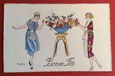 CPA. Illustrateur MARZO. Art Déco. Mode. Jeunes Femmes. Sellette. Vasque Fleurs
