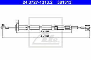 ATE Parking Brake Cable For VOLVO 240 260 1205743