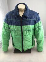 Vtg 70s Slalom Green/dark Blue Ski Snowboarding Jacket Coat Mens Large L Made US