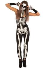 Ladies Skeleton Catsuit Costume Halloween Fancy Dress Dead Jumpsuit Adult Women