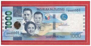 2021 PHILIPPINES NEW Enhanced 1000 Peso NGC Duterte DIOKNO Low No. DH 000001 UNC