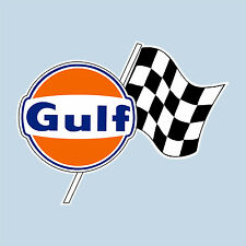 """GULF CHEQUERED FLAG LOGO STICKER 150 mm 6"""" WIDE DECAL - OFFICIALLY LICENSED"""